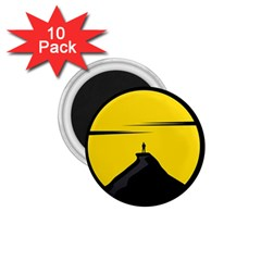 Man Mountain Moon Yellow Sky 1 75  Magnets (10 Pack)