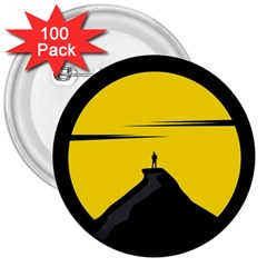 Man Mountain Moon Yellow Sky 3  Buttons (100 Pack)