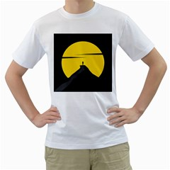 Man Mountain Moon Yellow Sky Men s T Shirt (white) (two Sided)