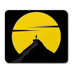 Man Mountain Moon Yellow Sky Large Mousepads