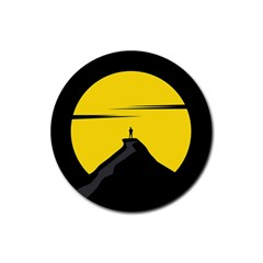 Man Mountain Moon Yellow Sky Rubber Round Coaster (4 Pack)