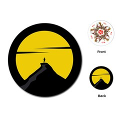 Man Mountain Moon Yellow Sky Playing Cards (round)