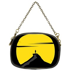 Man Mountain Moon Yellow Sky Chain Purses (two Sides)