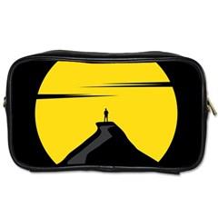 Man Mountain Moon Yellow Sky Toiletries Bags 2 Side