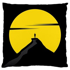 Man Mountain Moon Yellow Sky Large Cushion Case (one Side)