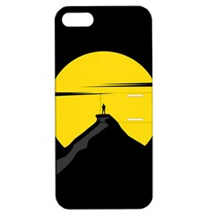 Man Mountain Moon Yellow Sky Apple Iphone 5 Hardshell Case With Stand
