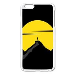 Man Mountain Moon Yellow Sky Apple Iphone 6 Plus/6s Plus Enamel White Case