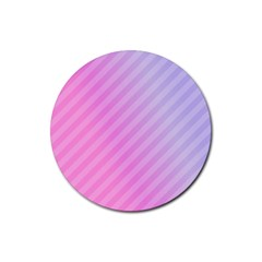 Diagonal Pink Stripe Gradient Rubber Round Coaster (4 Pack)