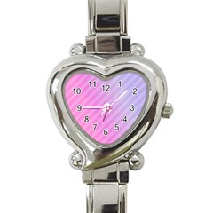 Diagonal Pink Stripe Gradient Heart Italian Charm Watch