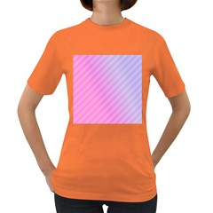 Diagonal Pink Stripe Gradient Women s Dark T Shirt