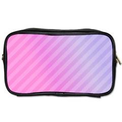 Diagonal Pink Stripe Gradient Toiletries Bags 2 Side