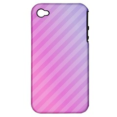 Diagonal Pink Stripe Gradient Apple Iphone 4/4s Hardshell Case (pc+silicone)