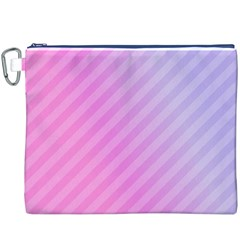 Diagonal Pink Stripe Gradient Canvas Cosmetic Bag (xxxl)