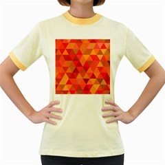 Red Hot Triangle Tile Mosaic Women s Fitted Ringer T Shirts