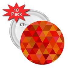 Red Hot Triangle Tile Mosaic 2 25  Buttons (10 Pack)