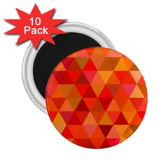 Red Hot Triangle Tile Mosaic 2 25  Magnets (10 Pack)