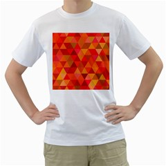 Red Hot Triangle Tile Mosaic Men s T Shirt (white) (two Sided)