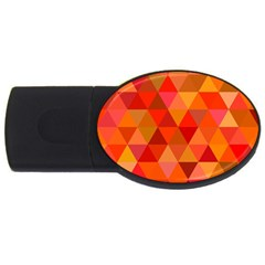 Red Hot Triangle Tile Mosaic Usb Flash Drive Oval (2 Gb)