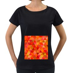 Red Hot Triangle Tile Mosaic Women s Loose Fit T Shirt (black)