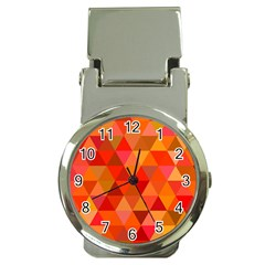 Red Hot Triangle Tile Mosaic Money Clip Watches