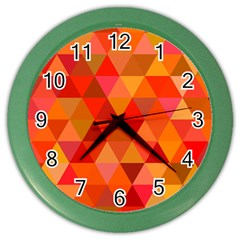 Red Hot Triangle Tile Mosaic Color Wall Clocks