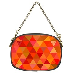 Red Hot Triangle Tile Mosaic Chain Purses (two Sides)