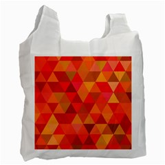 Red Hot Triangle Tile Mosaic Recycle Bag (two Side)