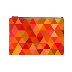 Red Hot Triangle Tile Mosaic Cosmetic Bag (large)