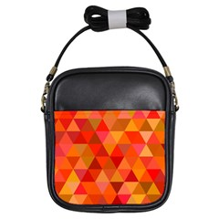 Red Hot Triangle Tile Mosaic Girls Sling Bags