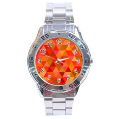 Red Hot Triangle Tile Mosaic Stainless Steel Analogue Watch