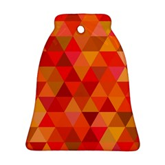 Red Hot Triangle Tile Mosaic Bell Ornament (two Sides)