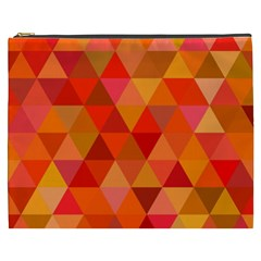 Red Hot Triangle Tile Mosaic Cosmetic Bag (xxxl)