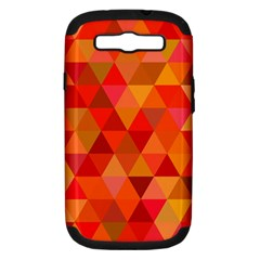 Red Hot Triangle Tile Mosaic Samsung Galaxy S Iii Hardshell Case (pc+silicone)