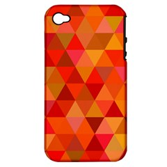 Red Hot Triangle Tile Mosaic Apple Iphone 4/4s Hardshell Case (pc+silicone)