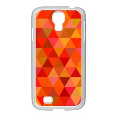 Red Hot Triangle Tile Mosaic Samsung Galaxy S4 I9500/ I9505 Case (white)