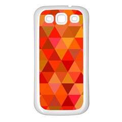 Red Hot Triangle Tile Mosaic Samsung Galaxy S3 Back Case (white)