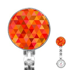 Red Hot Triangle Tile Mosaic Stainless Steel Nurses Watch