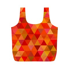 Red Hot Triangle Tile Mosaic Full Print Recycle Bags (m)