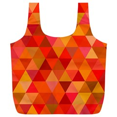 Red Hot Triangle Tile Mosaic Full Print Recycle Bags (l)