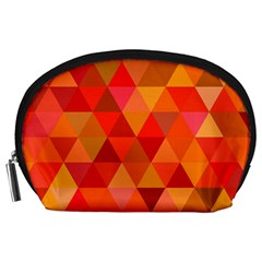 Red Hot Triangle Tile Mosaic Accessory Pouches (large)