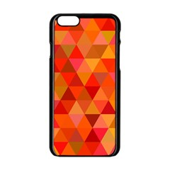 Red Hot Triangle Tile Mosaic Apple Iphone 6/6s Black Enamel Case