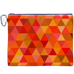 Red Hot Triangle Tile Mosaic Canvas Cosmetic Bag (xxxl)