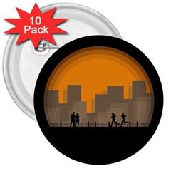 City Buildings Couple Man Women 3  Buttons (10 Pack)