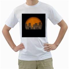 City Buildings Couple Man Women Men s T Shirt (white) (two Sided)