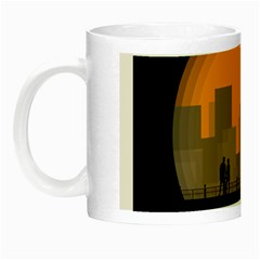 City Buildings Couple Man Women Night Luminous Mugs