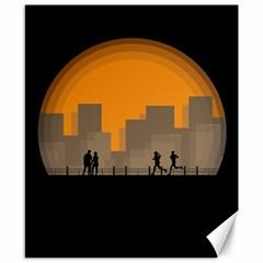 City Buildings Couple Man Women Canvas 8  X 10