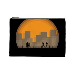City Buildings Couple Man Women Cosmetic Bag (large)