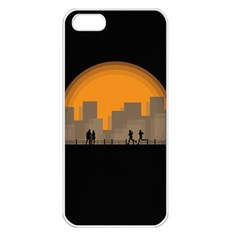 City Buildings Couple Man Women Apple Iphone 5 Seamless Case (white)