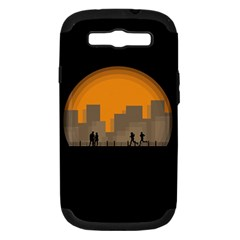 City Buildings Couple Man Women Samsung Galaxy S Iii Hardshell Case (pc+silicone)