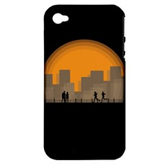 City Buildings Couple Man Women Apple Iphone 4/4s Hardshell Case (pc+silicone)